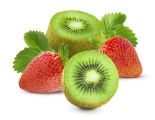 Big group of strawberry and kiwi isolated on white background
