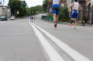 Road runners in a race