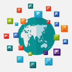 Social media icons on world globe