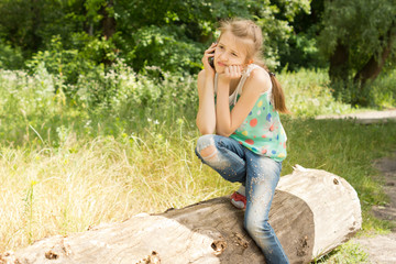 Bored girl having a call on the mobile phone