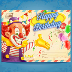 card birthday clown
