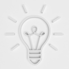A convex contour  white icon of bulb on a white background