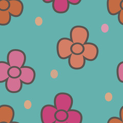 pattern with flowers on a beige background 1
