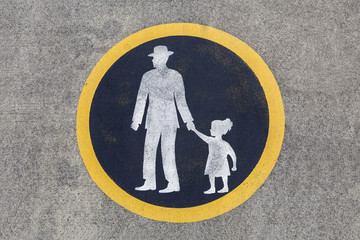 Weathered Pedestrian Pavement Sign