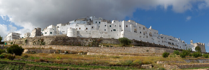 Panoramic view of Ostuni - white city in Apulia. Italy.