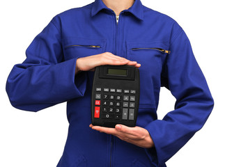 woman in blue work uniform holding a calculator
