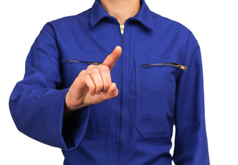 woman in blue work uniform pointing at something with his finger