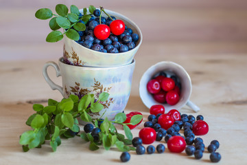 Bluberry and cherry still life on light background
