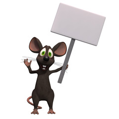 Cartoon mouse with a blank sign