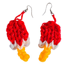 Colorful Rainbow loom earring rubber bands fashion