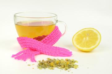 Kräutertee mit Zitrone, Erkältung