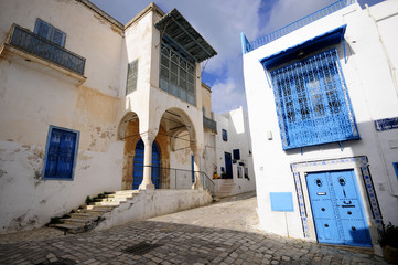 Street of Sidi Bou Said. UNESCO World Heritage