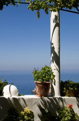 flowered balcony on the Aegean Sea