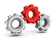 Three gears on white background. Leadership teamwork
