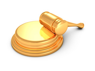 golden judges gavel on white background