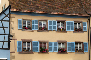 Timbered houses in the village of Eguisheim in Alsace, France