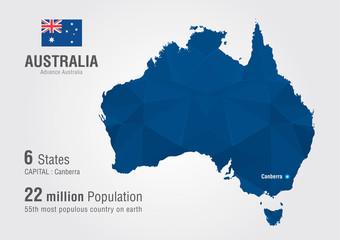 Australia world map with a diamond pixel texture.