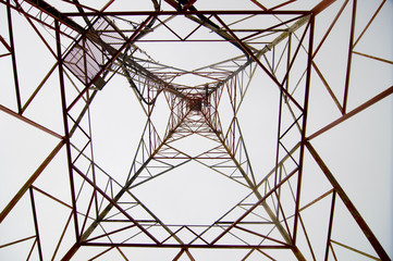 High voltage pylon taken from below