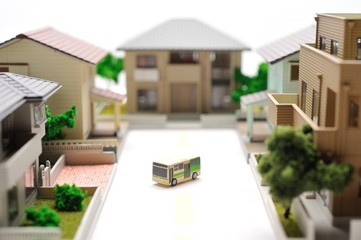 ミニチュア模型の住宅街