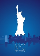 New York City blue background vector