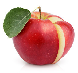 Red apple with green leaf and cut isolated on white