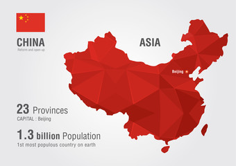 China world map with a pixel diamond texture.