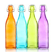 Colorful bottles isolated on white