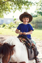 Little kid in hat on pony