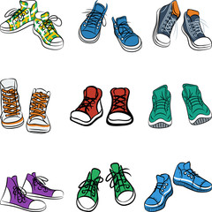 Vector set of sneakers