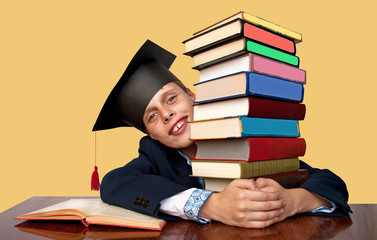 School student with books and cap master