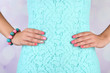 canvas print picture - Female hand with stylish colorful nails, close-up,