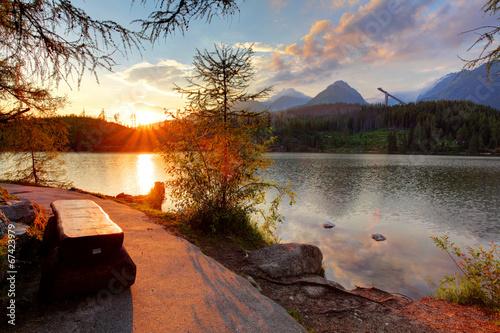 Mountain lake in Slovakia at sunset - Strbske pleso