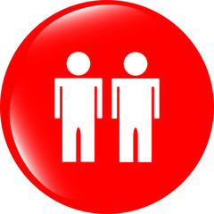icon button with two man inside isolated on white