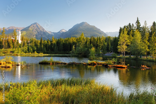 canvas print picture Strbske pleso - Slovakia mountain landscape at summer