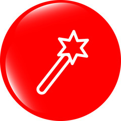 Icon magic wand, web button isolated on white