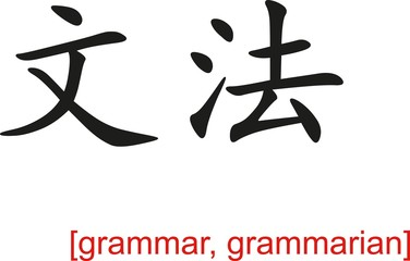 Chinese Sign for grammar, grammarian