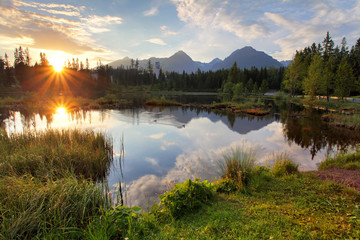Mountain lake in Slovakia at sunset - Strbske pleso