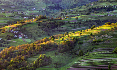 Green spring rural hill landscape, Slovakia