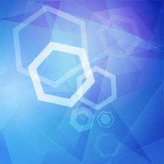 abstract blue background with white hexagons and lines