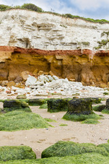 Red and whilte sandstone and chalk cliffs at Hunstanton, Norfolk