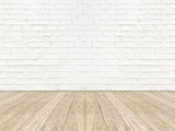 Fototapety empty brick room wall and wood plank floor