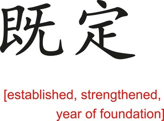Chinese Sign for established, strengthened, year of foundation
