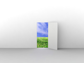 Exit with door to natural landscape. Concept - eco house.