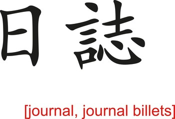Chinese Sign for journal, journal billets