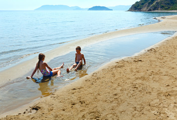 Children on Gerakas beach (Zakynthos, Greece)
