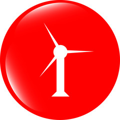 wind turbine icon, web button isolated on white