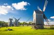 Leinwandbild Motiv wooden windmill in Angla, Saaremaa island, Estonia