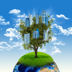 Earth and tree with buildings