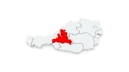Map of Austria. 3d