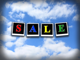 inscription sale on the blue sky